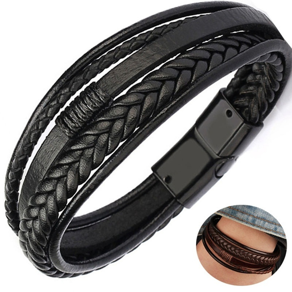 Multi-Layers Handmade Braided Genuine Leather Bracelet /& Bangle Stainless Steel Fashion Bangles Gifts