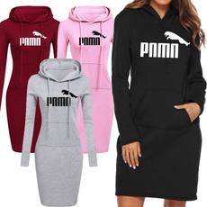 hooded, Hoodies, Sleeve, women casual dress