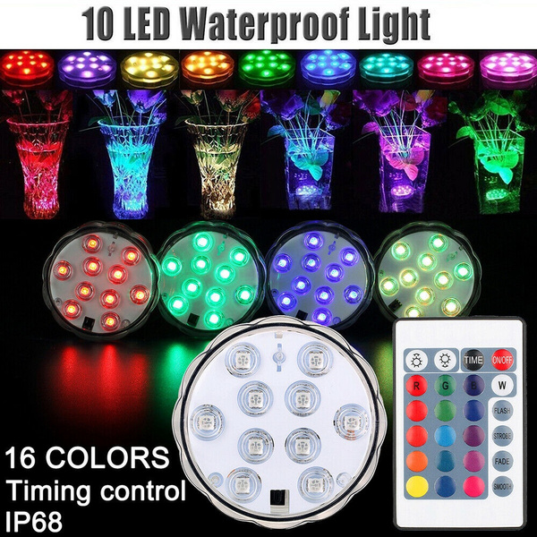 New 10leds RGB Led Underwater Light Pond Submersible IP67 Waterproof  Swimming Pool Light Battery Operated for Wedding Party Outdoor | Wish