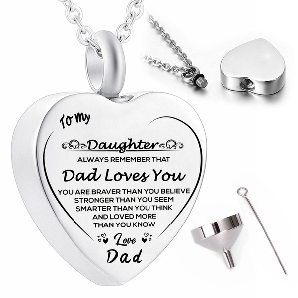 Cremation Jewelry Stainless Steel Silver Engraved Urn Necklace For Ashes Keepsake Pendant Necklace For Dad Wish