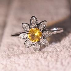 Sterling, Flowers, wedding ring, 925 silver rings
