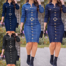 denim dress, Jeans Dress, Plus Size, sleeve dress