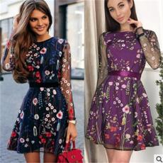 Summer, Floral, Long sleeved, Dress