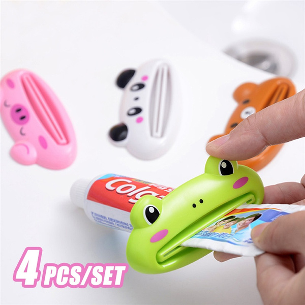 4 Pcs Set Cartoon Tube Rolling Holder Squeezer Toothpaste Dispenser Easy Press Squeezing Tool Toothpaste Rolling Bracket Bathroom Supplies Wish
