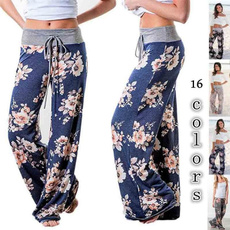 pajamapant, elastic waist, Floral print, high waist