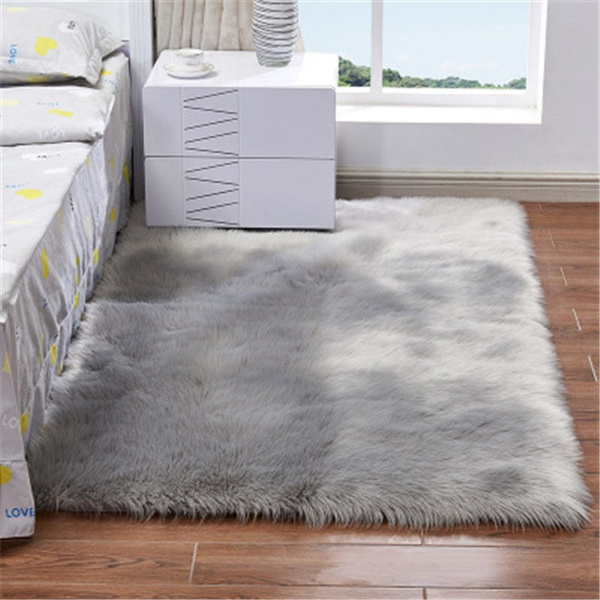 Floor Mat Shaggy Fluffy Rugs Anti-Skid Area Rug Office Room Carpet Home Bedroom