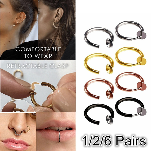 1 2 6 Pairs Retractable Earrings No Need Piercing Fake Classic Hip