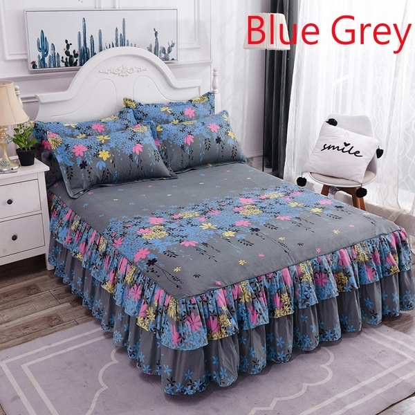 Floral Bed Skirt Brushed Dust Ruffle Pillowcase Bedspread Bed Cover Fitted Sheet