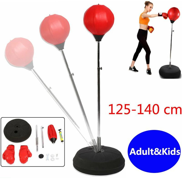Adult Boxing Punch Exercise Bag Ball w//Goloves For Reflex Speed Training Stand