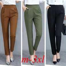 Polyester, elastic waist, sport pants, high waist