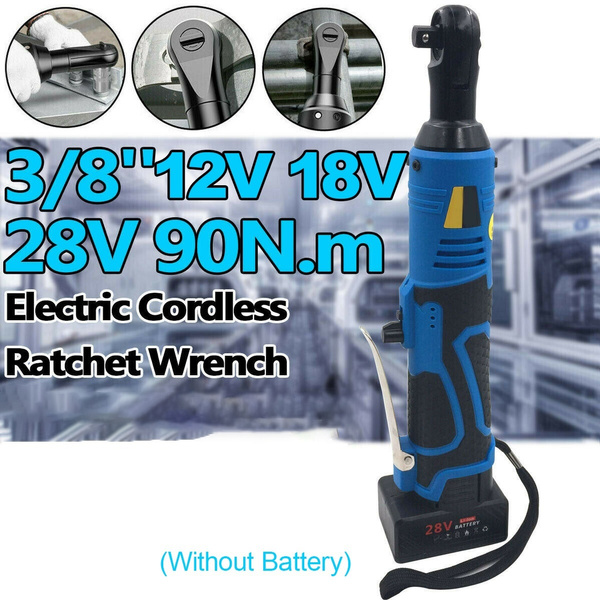 12V//18V//28V 90N.m 3//8/'/' Cordless Electric Ratchet Impact Wrench Right Angle