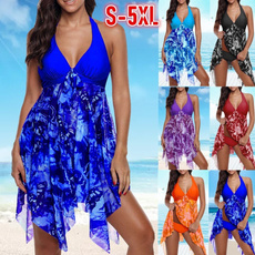 Plus Size, Halter, asymmetric, swim dress