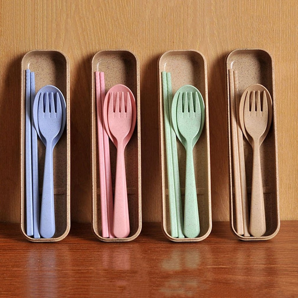 Dinnerware Chopstick Spoon Fork Set Travel Outdoor Picnic With Wheat Straw Box