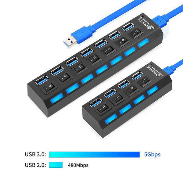 USB 3.0 7 Ports HUB Splitter power adapter With On//Off Switch For PC Laptop