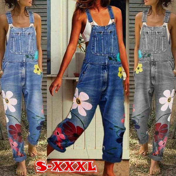 Plus Size, printed, denim overalls women, Denim