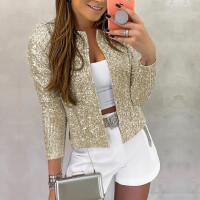 Ladies Jacket Blazers Suit Long Sleeve Bling Silver Black Sequins Elegant Coat