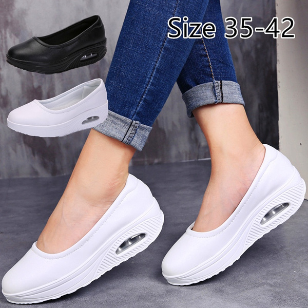 Womens Comfort Working Nurse Shoes Adjustable Breathable Wedges Slip-on Walking Sneaker Fitness Casual Shoes Mary Jane Sneaker