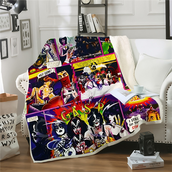 Kiss Band 3D Print Sherpa Blanket Sofa Couch Quilt Cover throw blankets fleece