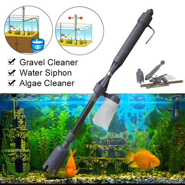 Electric Siphon Vacuum Cleaner Water Filter Pump Aquarium Fish Tank Clean Tool Wish