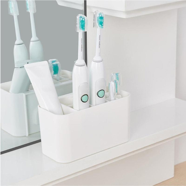 Bathroom Organiser Wall Mounted Electric Toothbrush Holder /& Toothpaste Holder
