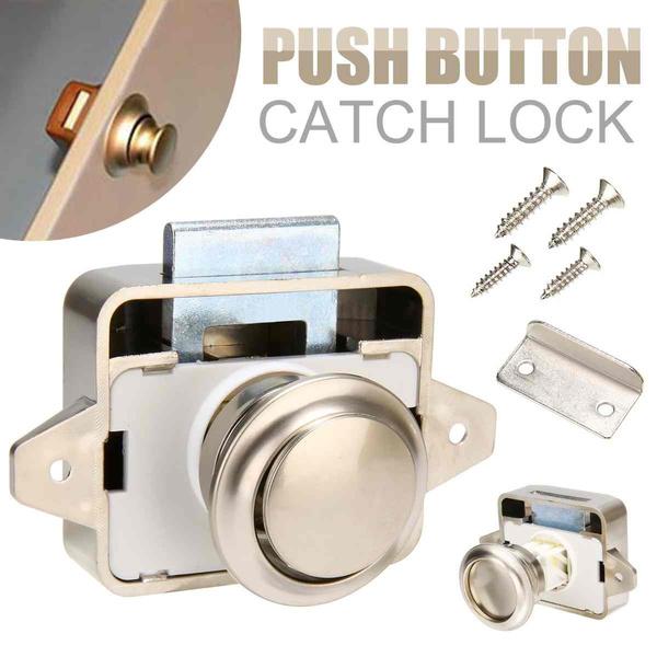 Push Button Latch Knob Lock for Drawer Cupboard Door Caravan Motor Home Cabinet