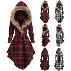 plaid, fur, Winter, Sleeve