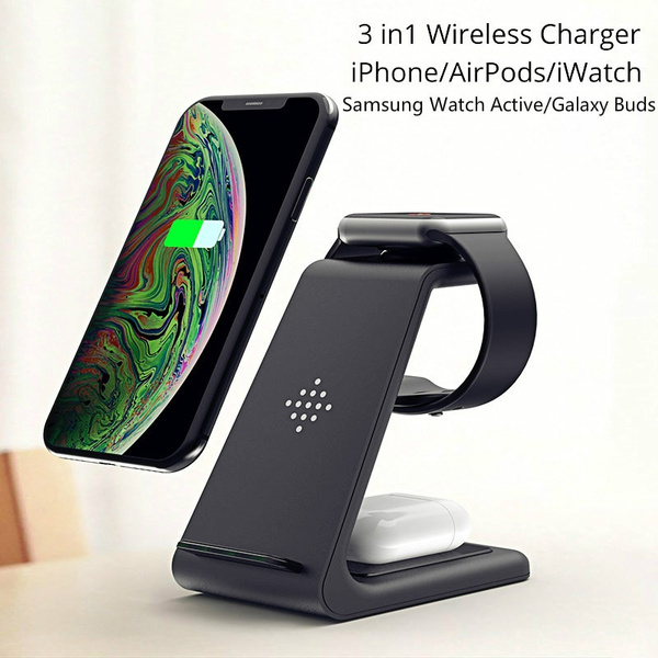 Qi 10w Fast Charge 3 In 1 Wireless Charger For Iphone 11 Pro X Xs