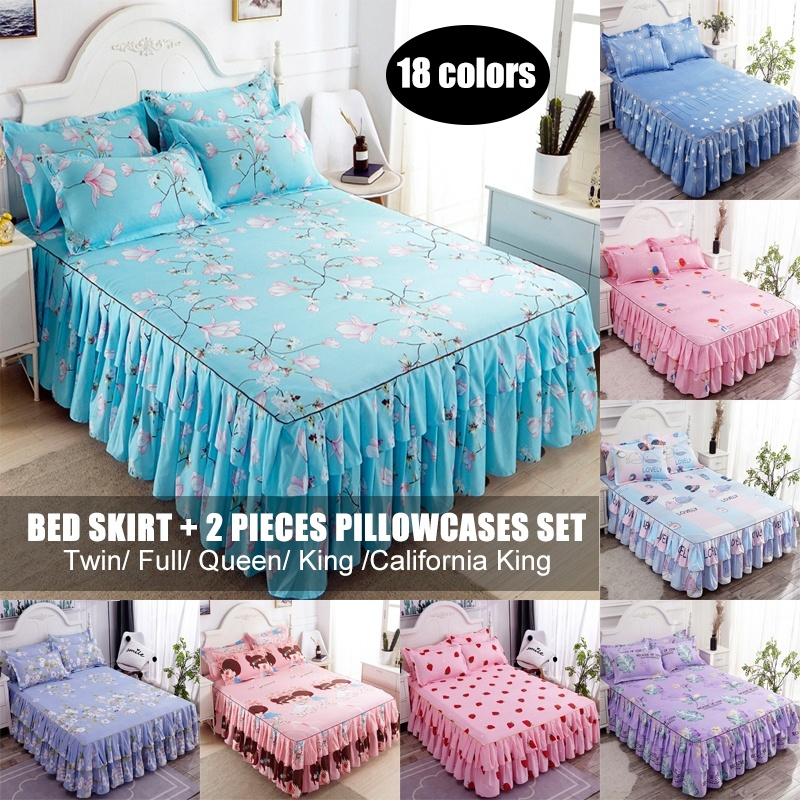Home Floral Bed Skirt //Pillowcase Double Dust Ruffle Elegant Bed Sheet Bedspread