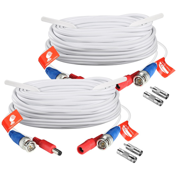 ZOSI 2pcs 20m AHD TVI BNC Video Power Cable For CCTV Security Camera System DVR