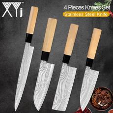 Steel, Wood, knivesset, chefkitchenknife