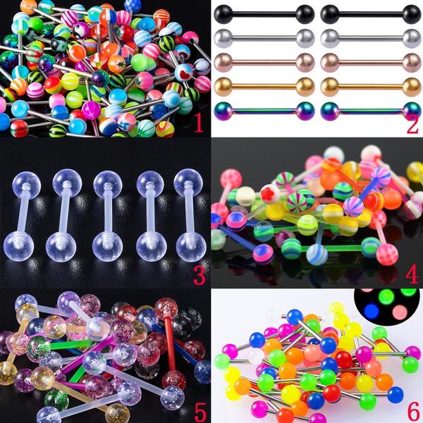 Colorful, tonguepiercing, tonguebarbell, nipplebar