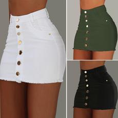 Mini, high waist, denimskirt, Denim