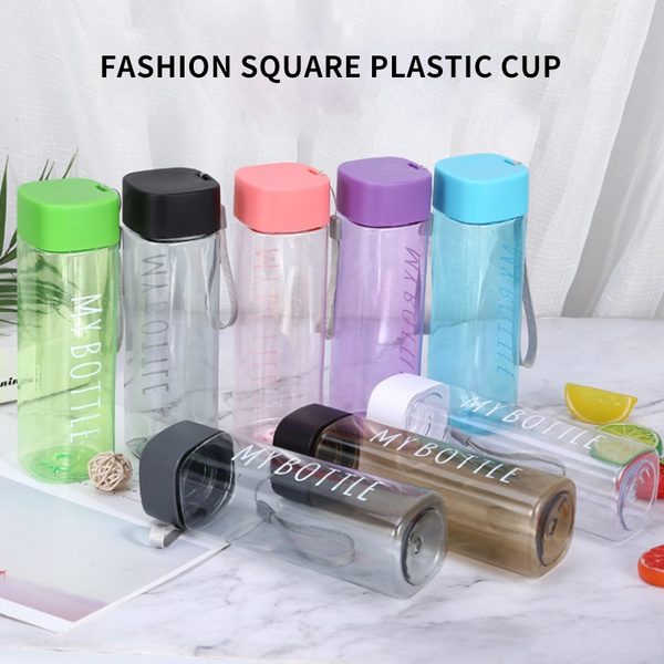 Tea Milk Fruit Water Cup 500ml for Water Bottles Transparent Sport Korean style