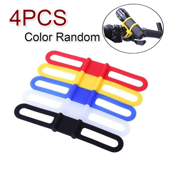 Bike Cycling Silicone Elastic Bandages Strap Holder for Light Phone Color Random