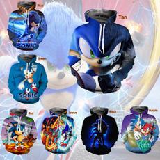 sonic, cartoon sweatshirt, hooded, Classics