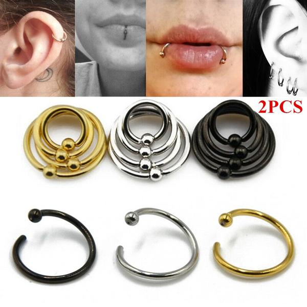 2pcs Women Fashion Captive Bead Cartilalge Body Jewelry Ear Hoop