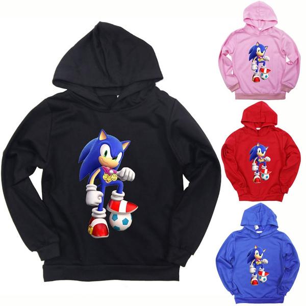 Kids Boys Girls Cartoon Sonic The Hedgehog Hoodies Casual Hooded Sweatshirt Cartoon Sonic Play Football Pullovers Tops For Children Wish