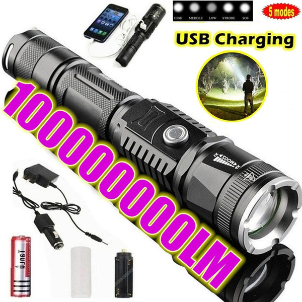 Outdoor Use High Light Mulfuntion Flashlight XM-L L2 LED Torch USB Charging US