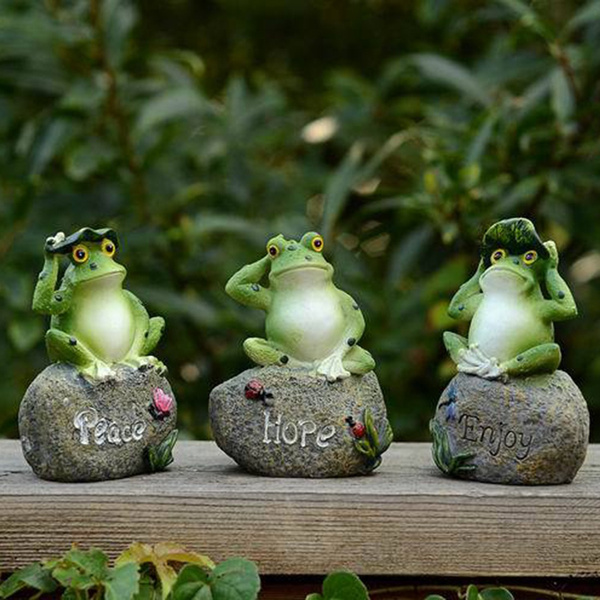 3 Pcs Frog Garden Statues Frogs Sitting