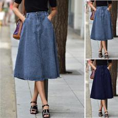 Plus Size, Spring, denimskirt, high waist skirt