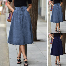 Plus Size, Spring, denimskirt, high waist skirt