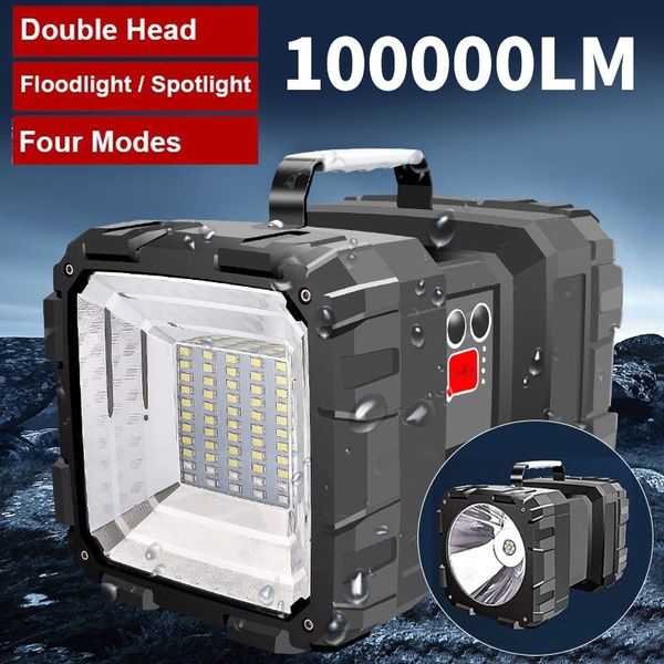5v 40w Double Head Searchlight Waterproof Handheld Flashlight Rechargeable