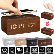 alarmclockcharger, led, Clock, Wooden