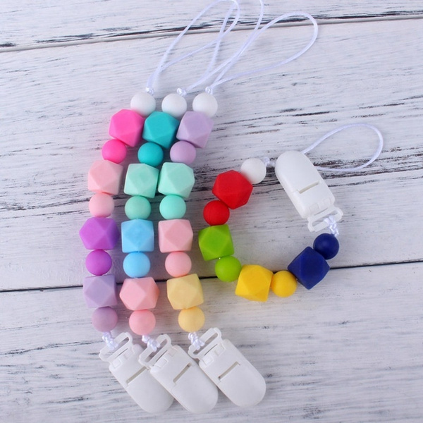 Beads Sensory Soothers Holder Teething Dummy Baby Clip Chain Silicone Pacifier