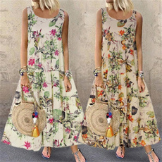 Summer, Vest, Plus Size, Print Dresses