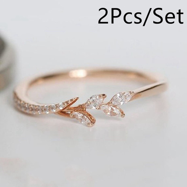2pcs Exquisite 18k Rose Gold Plated Ring Eternity Wedding Band