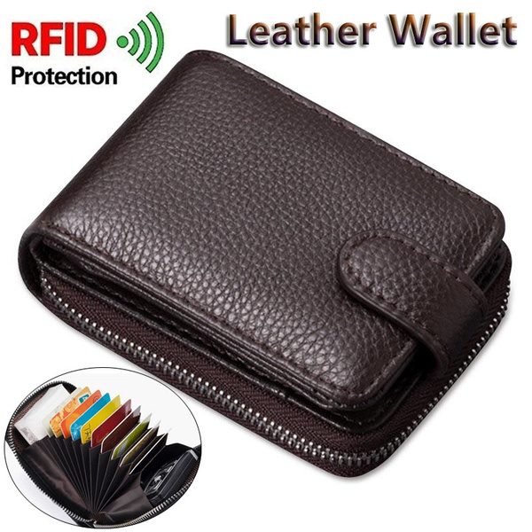 Genuine Real Leather Wallet RFID Blocking Credit Card Holder Zip Purse Men Women