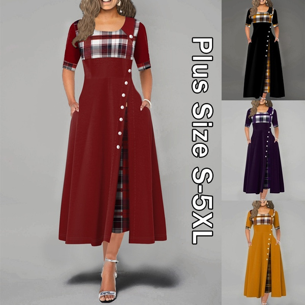 Plus Size, Plaid Dress, Sleeve, long dress
