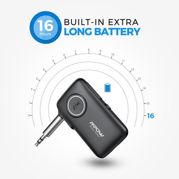 V5.0 CSR Bluetooth Receiver 16 Hours Long Playtime Bluetooth Car Adapter