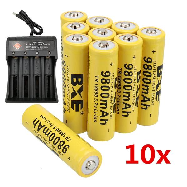 BXE 4 Pcs Button Top 18650 Rechargeable Batteries,9800mAh 3.7V Li-ion 18650 Batteries for Led Flashlight Headlamp with 2 Pcs Smart Charger